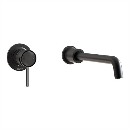 Felton Tate Wall Mounted Basin/Bath Mixer Matte Black/Brushed Gunmetal