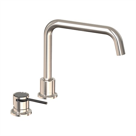 Felton Tate Deck Mounted Sink Mixer Brushed Nickel/Matte Black