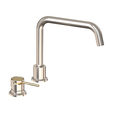 Felton Tate Deck Mounted Sink Mixer Brushed Nickel/Brushed Gold