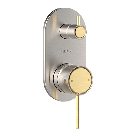 Felton Tate Diverter Mixer Brushed Nickel/Brushed Gold