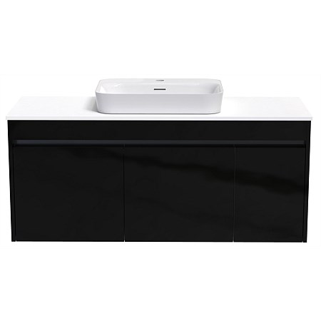 Athena Sirocco Alumino 1200 Wall Hung Vanity Exochique Black with Caesarstone Top and Serifos Basin