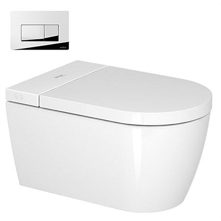 Duravit Me by Starck Wall-Hung Toilet with SensoWash® Starck F Shower Seat and Valsir Pushplate