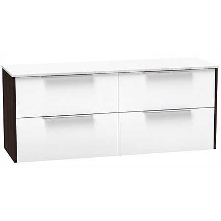 Clearlite Nikau Pro 1500mm Double Drawer Vanity Ultra Gloss White and Dark Oak